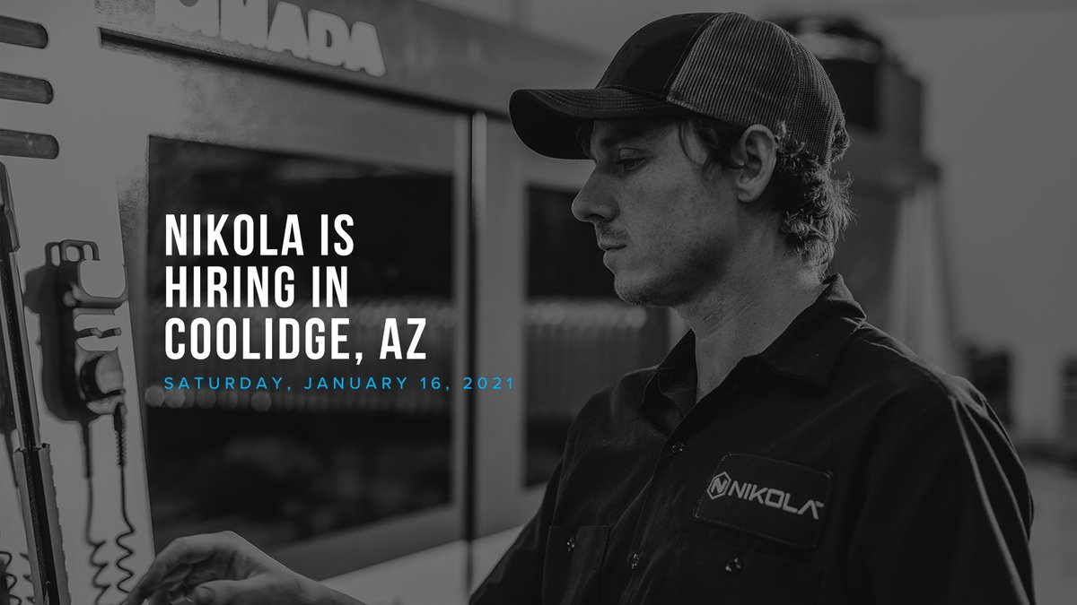 We're hiring! Nikola will start assembling our battery-electric semi-trucks in Coolidge, Arizona at our brand new factory this summer. If you have an interest in production assembly work, skilled trades, or process engineering… we want to meet you. https://t.co/pqljVwqgUS https://t.co/Qfb4z7UZyv