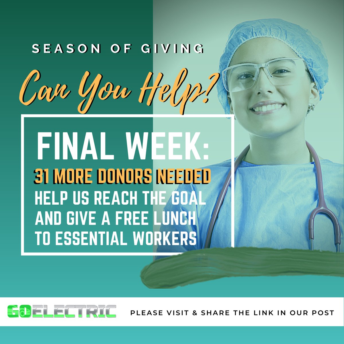 FINAL WEEK: Our Global Giving Project Ends 12/31 31 More Donations Needed Donate a lunch to essential workers. Even a $10 donation makes a difference!   @GlobalGiving #GivingTuesday #givingtuesday2020 #nurses #frontlineworkers #FrontLineHeroes #Frontliners