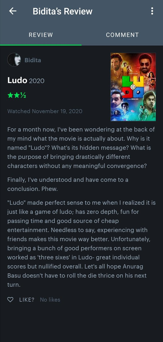 Wrote a short review in a long time.  Movie: Ludo (2020)  Personal Rating: 05/10   My profile:   #LudoOnNetflix #LudoMovie #Ludo #Ludo2020 #LudoReview #MovieReview #FilmReview