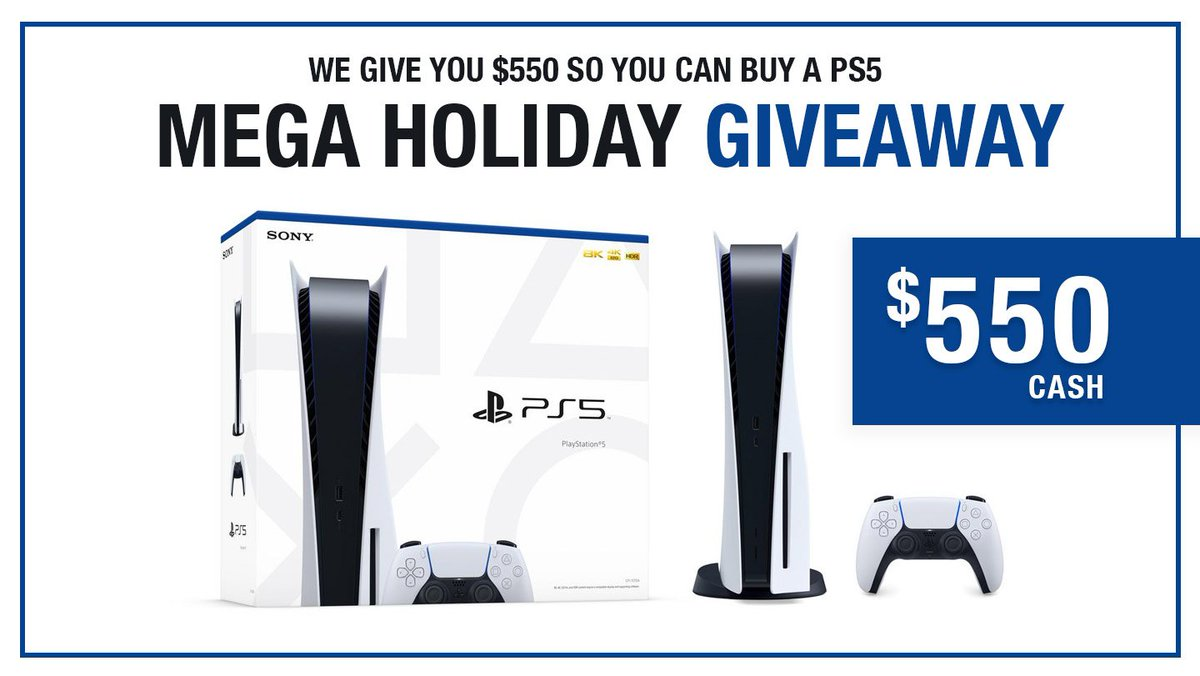 Mega Holiday Giveaway🔥🥳  Prize: 💵$550 Cash for a #PS5 / Gift Card  How to enter: ✅Follow @WizardsCash, @davidgokhshtein, @ScottZILWarrior, and @spieltimes. ✅Like and Retweet📨  🏆Winner announcement in 48 hours  ✌️Good Luck!