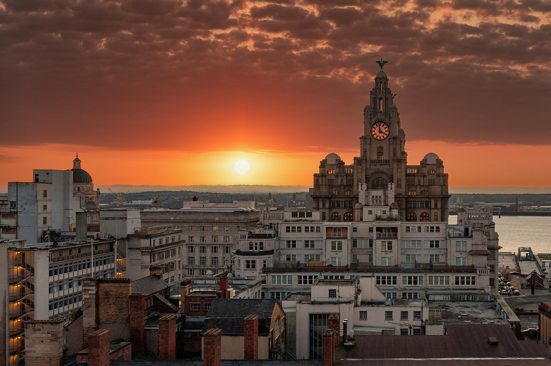 Sunset over Liverpool and River Mersey