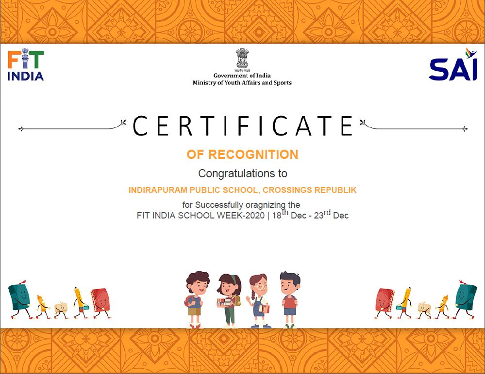 @IPSCrossings got recognition for successfully organising #FitIndiaSchoolWeek for Students, their families and staff as a part of the nationwide movement to promote fitness! @vishalsingh_IGI @RitaSingh0210 @IprmGrp #FitIndiaMovement #newindiafitindia @RijijuOffice