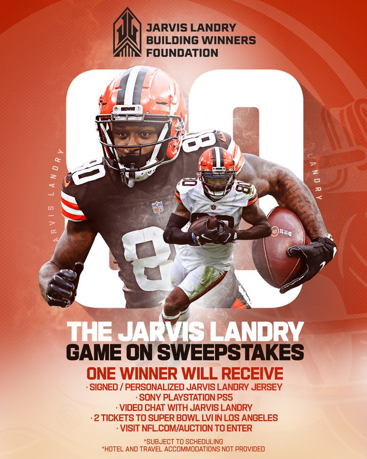 Check out the Jarvis Landry GAME ON sweepstakes! Donate & you could win the following: - Signed Jersey from @God_Son80 - Sony Playstation #PS5  - Video Chat with Jarvis - 2 Tickets to #SuperBowl LVI in Los Angeles (2022) DONATE & ENTER HERE--> #NFL #Browns