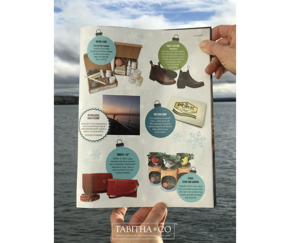 Great gift finds #AtHomeOnTheNorthShore ~ @Advocate1891 ! #TABITHACO #MindfullyMade #PremiumLeatherGoods #SupportLocal #ShopLocal #WinterEdition #GiftGuide #TABITHACOmpany #IMadeYourBag #EastCoast #NovaScotia #AtlanticCanada #MadeInCanada
