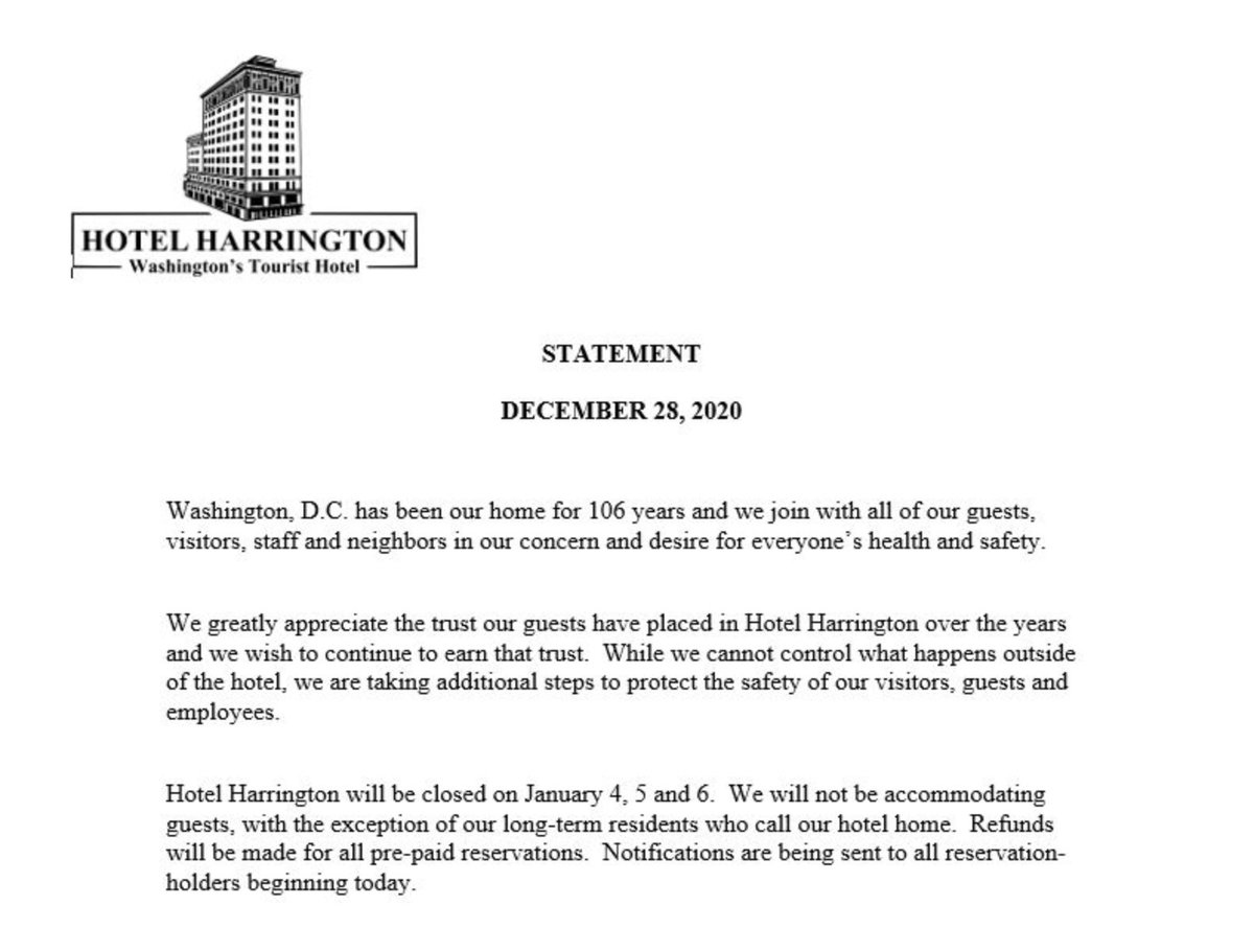 The Proud Boys have made Hotel Harrington in D.C. their unofficial headquarters when inside the nation's capitol. The hotel just announced that they will CLOSE January 4th-6th.  Other entities that profit by providing safe haven to extremist and violent groups should follow suit.