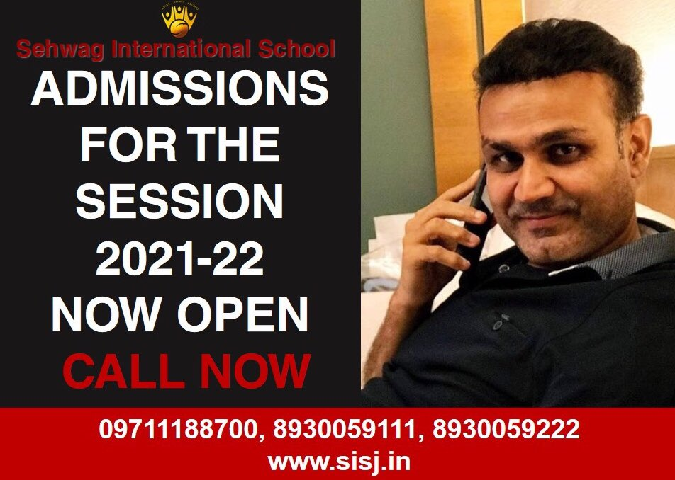 """Be a part of the institution where achievers are raised and winners are made""- Virender Sehwag, founder, Sehwag International School #ADMISSIONSOPEN for the #session2021_22. Call 09711188700, 8930059111 or 8930059222 or visit"