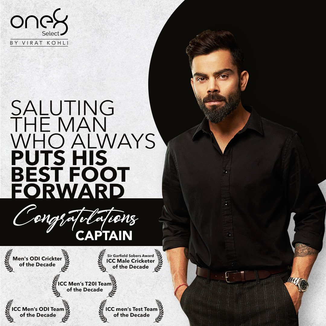 Here is to the man who always leads from the front! Congratulations Captain on another year of accolades!! #one8  @one8world  . . #viratkohli #icc #iccawards #accolades #one8select #yourbestfootforward #one8selectnowonline #proudmoment