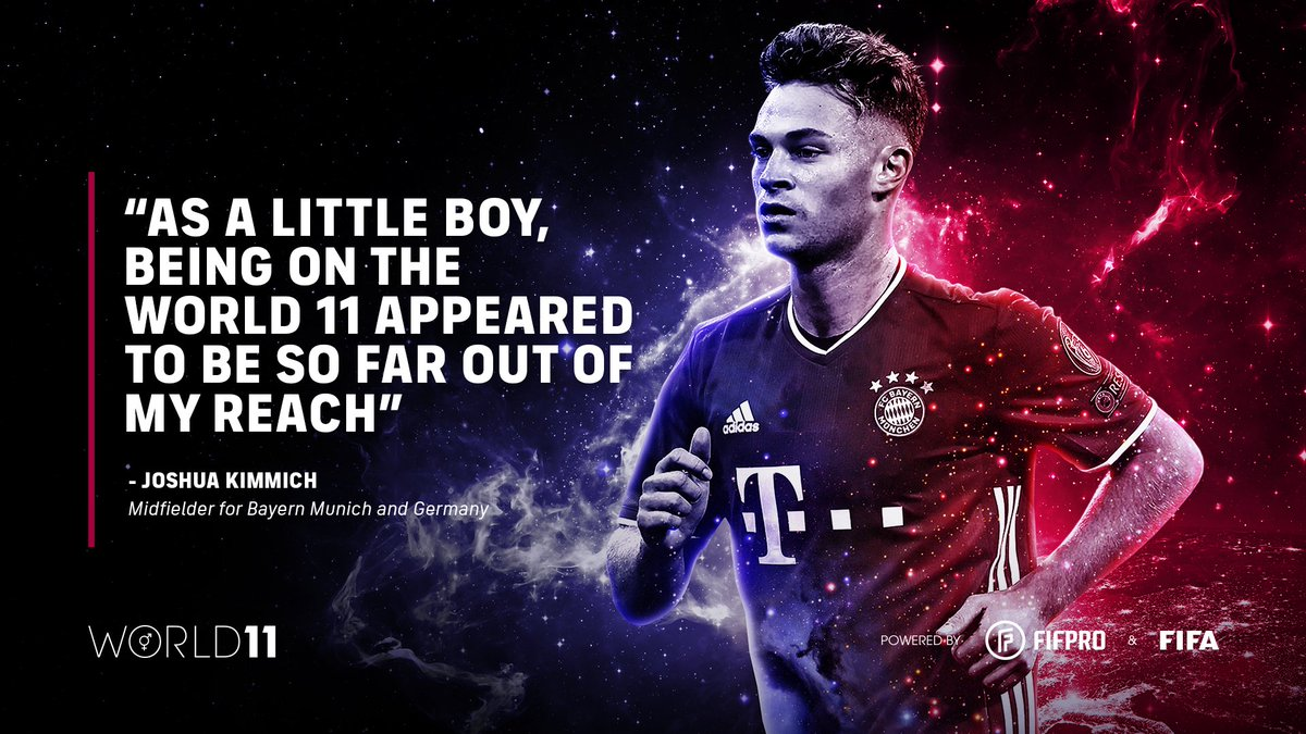 """""""As a little boy, being on the World 11 appeared to be so far out of my reach."""" – @JoshuaKimmich on winning his first World 11 award 🏆👏 @FCBayern @FCBayernEN   Find out what it means to win a #World11 award ⬇️"""