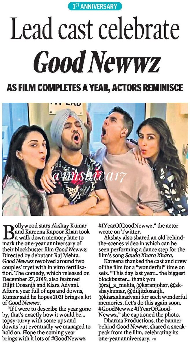 1st anniversary :  Lead  cast celebrate #GoodNewwz   As film completes a year, actor    reminisces... #1YearOfGoodnewwz  #KareenaKapoorKhan @akshaykumar @diljitdosanjh @advani_kiara