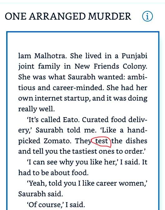 "Shouldn't it be ""Taste"" instead of ""Test""?  .@chetan_bhagat #OneArrangedMurder"