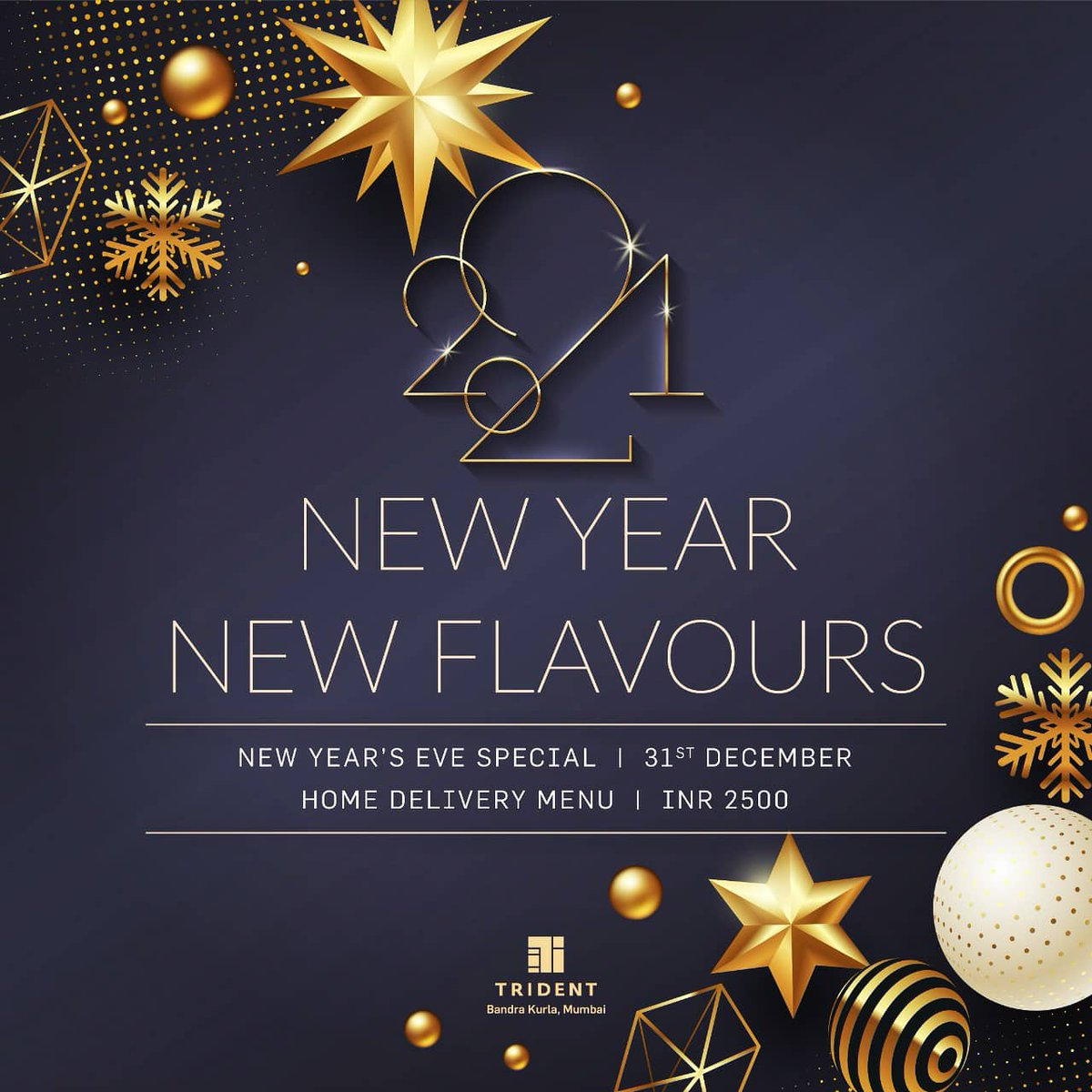 You plan the party, let us plan the food. Delight your senses as @TridentBKC serves up an exceptional #NewYearsEve spread to enjoy at home this 31stDecember.  Available exclusively on 31 Dec. View  menu 👉:https://t.co/Ubue04bSoM For home delivery 📞 +9122 6672 7626 #NewYear https://t.co/WADKChHVSs