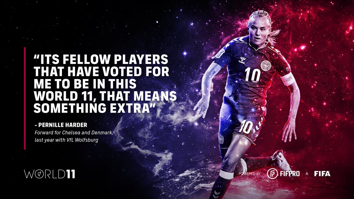 """""""Its fellow players that have voted for me to be in this World 11, that means something extra"""" – @PernilleMHarder on winning her second World 11 award 🏆👏 @Spillerforening @ChelseaFCW   Find out what it means to win a #World11 award ⬇️"""