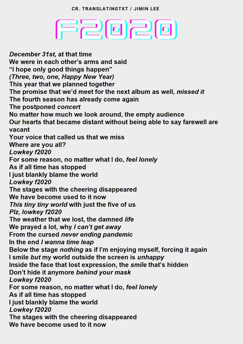 Replying to @translatingTXT: 'F2020' by TOMORROW X TOGETHER - English Lyrics Translation  @TXT_members  @TXT_bighit