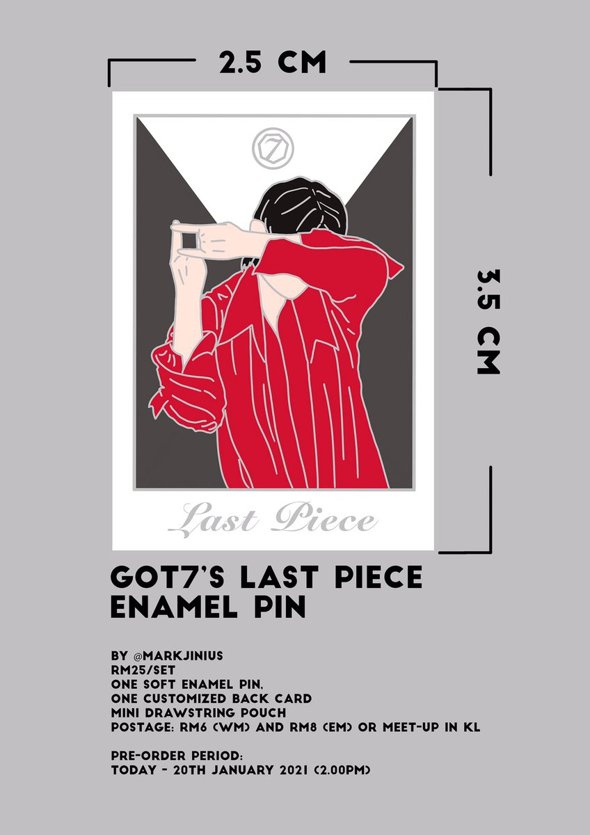 [GO][P/O] GOT7's Last Piece Enamel Pin  ⏰ Due: 20/1/2021 (2.00pm) 💰 RM25/set (refer to poster) 📍 Meetup in KL / Postage  Order link:    Kindly DM me for further inquiries. Thank you!   #markjiniusGO #GOT7MalaysiaMY #GOT7 #갓세븐 #GOT7_LastPiece