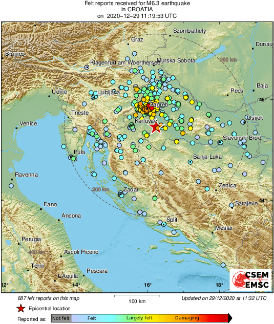 Emsc On Twitter M6 3 Earthquake Potres Strikes 44 Km Se Of Zagreb Centar Croatia 12 Min Ago Updated Map Of Its Effects