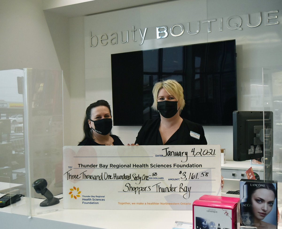 Each year @ShopprsDrugMart stores across Thunder Bay hold a Beauty Mingle in support of women's health.   In 2020 their mingle went virtual, and they raised $3,161.58 for Women's Heart Health right here at @TBRHSC_NWO ❤  Thank you!