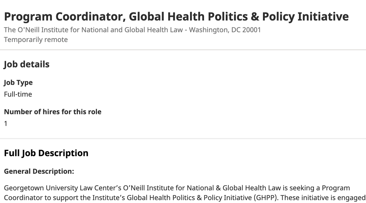 🚨Job, help spread the word🗣️ Our team @oneillinstitute  is recruiting a new Program Coordinator--great job for someone who geeks out on coordination, admin, and light data work +  excited about international politics, human rights, and global health https://t.co/DXf2ORvflW https://t.co/aNpcKb7bl7