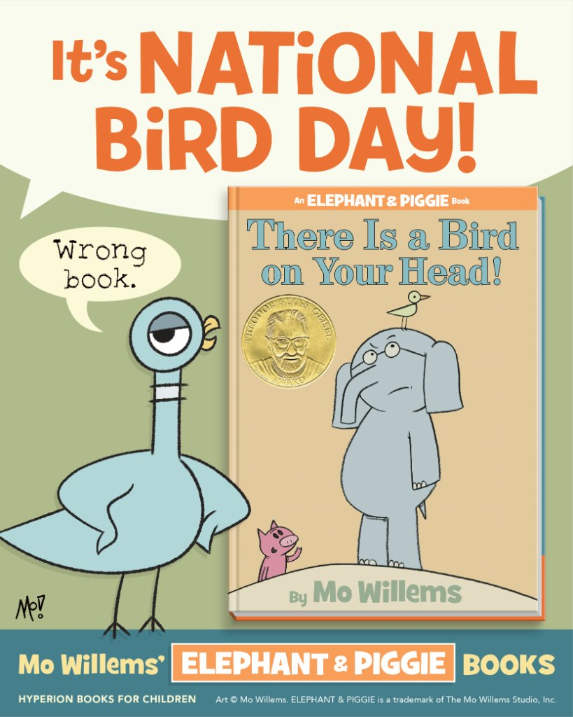 This Elephant and Piggie story is top of mind on #NationalBirdDay.