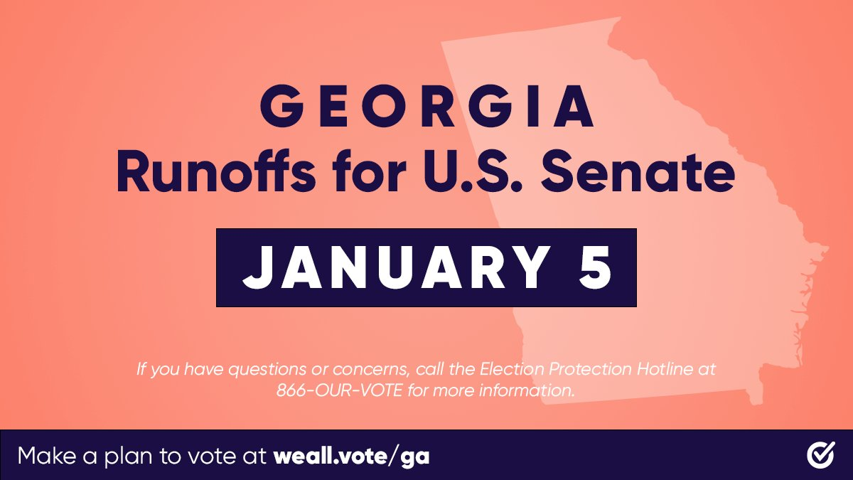 📣  GEORGIA: stay in line! If you are in line at your polling place by 7 PM, you will be allowed to vote. If you run into any issues or have questions, call the Election Protection Hotline @866OURVOTE (866-687-8683) to speak to a lawyer.  #WhenWeAllVote