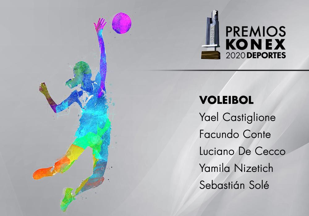 En la disciplina #Voleibol, los mejores de la última década en la Argentina ganadores del #PremioKonex son:  🔹@CastiglioneYael 🔹@FacuConte7 🔹@LucianoDeCecco 🔹@YasNizetich 🔹@sebasole11  Acá el listado completo de premiados👇   #voley #argentina #konex
