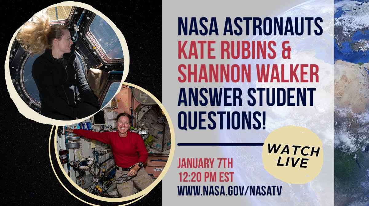 Tune in Jan. 7 at 12:20 pm ET for a @girlsmoonshot Q&A session with astronauts Kate Rubins & Shannon Walker! Watch live to learn: 🧪About @Space_Station science ☀️How far station is from the sun 👩‍🚀How astronauts train for missions ➕ lots more! 🔗nasa.gov/nasatv