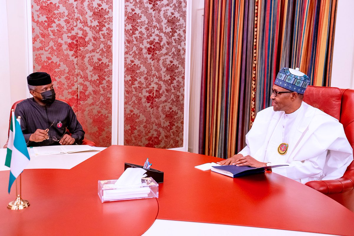 The Vice President briefed me on the progress so far in the implementation of our Economic Sustainability Plan (ESP). We're supporting artisans and small businesses with grants and salaries; we will also be delivering low-cost houses to Nigerians, as well as Solar Home Systems. https://t.co/rrsAj24p2Q