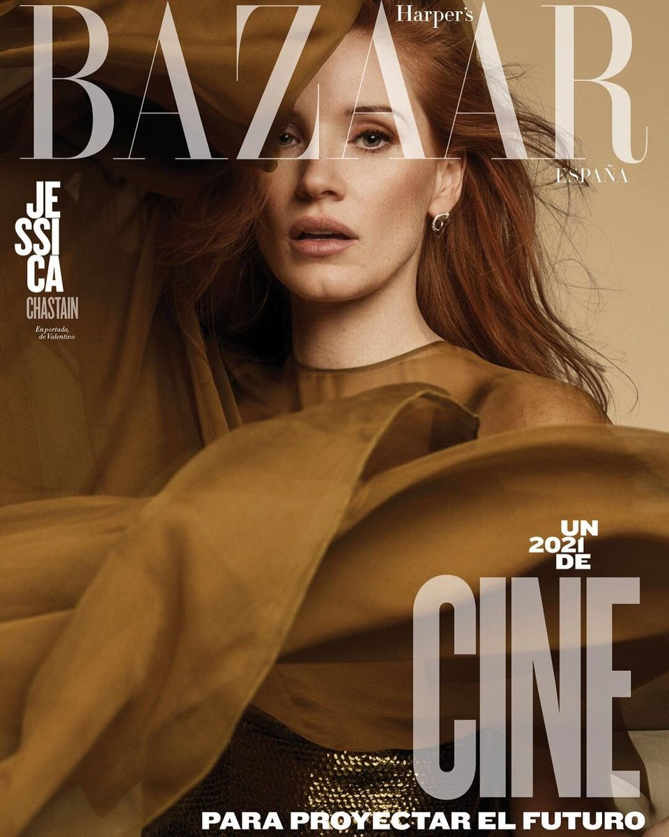 For the @harpersbazaarES January cover, @jes_chastain  was photographed by #DavidRoemer in a ruffled Valentino look designed by #PierpaoloPiccioli. Styled by: #CharlesVarenne  Hair: #renatocampora  Makeup: #tyronmachhausen  #ValentinoNewsstand