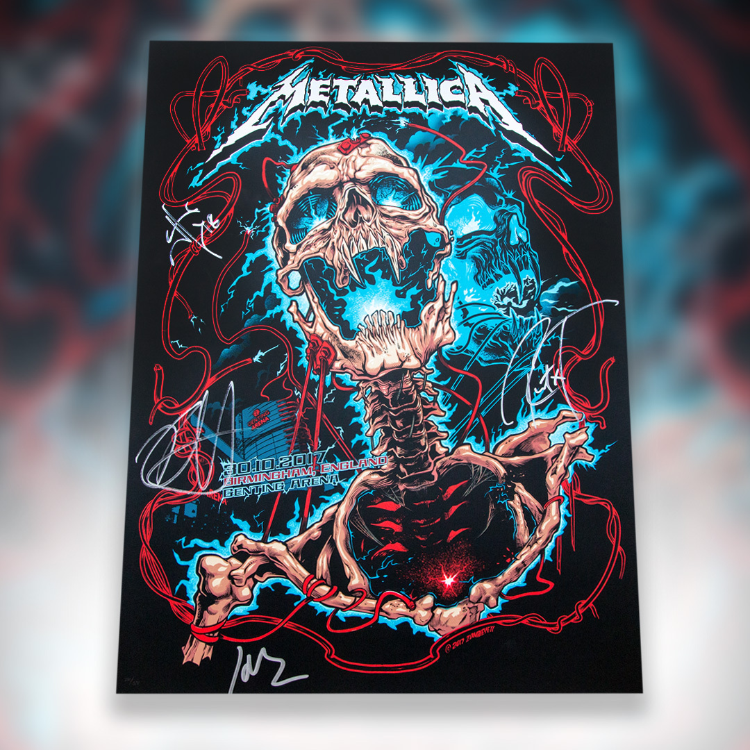 We're kicking off the new year with the return of the monthly auctions! This week you can bid on the official poster by @zombieyeti from @Metallica's 2017 show in Birmingham, England, singed by the band. All proceeds benefit #AWMH. #MetallicaGivesBack