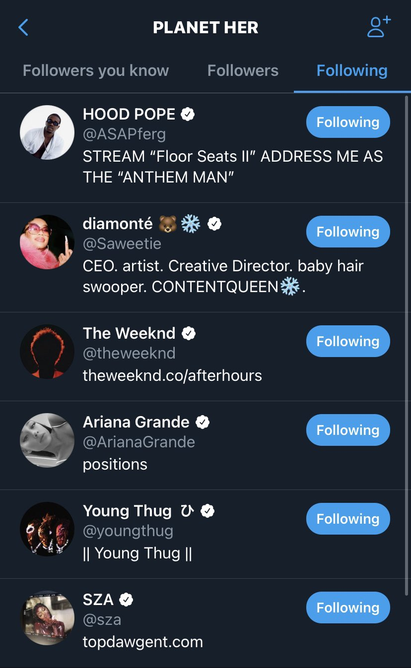 Doja only follows these at the moment