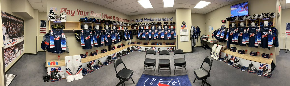 Rooms all set for our early game today vs. Czech! @usahockey #USAWJC