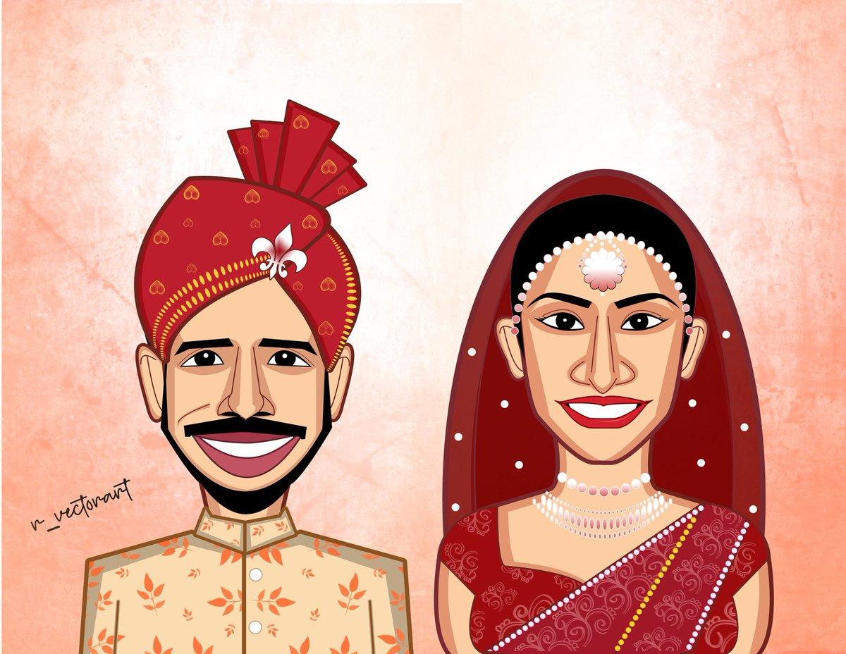 Congratulations @yuzi_chahal @Dhanashreee9 #yazuvendrachahal #congratulations #dhanashreeverma #dhanasaidyuz  #caricature #vectorartwork #wedding #weddingportrait #caricatureportrait #cricket #choreographer #weddingdress #traditional #drawing #cricketer #bowler #indianwedding