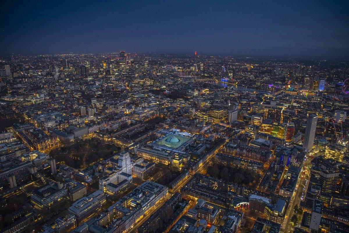 Winter night #aerialview looking over Senate House @SenateHouseLib @LondonU and the British Museum @britishmuseum @BloomsburyBooks #Bloomsbury, #London