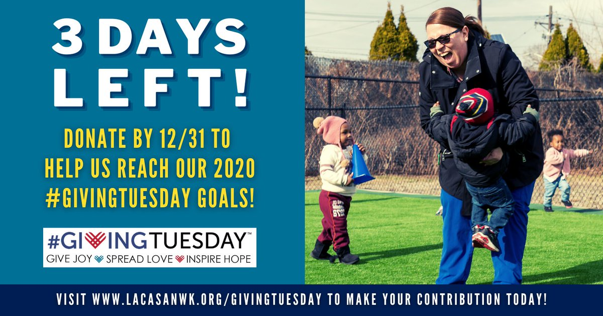 ONLY 3 DAYS LEFT TO DONATE TO OUR #GIVINGTUESDAY2020 CAMPAIGN! VISIT  NOW TO MAKE YOUR IMPACT!  #GivingTuesday #covidrelief #tistheseason #givingseason #mygivingstory #dogoodfeelgood #makeanimpact #empowerandrevitalize