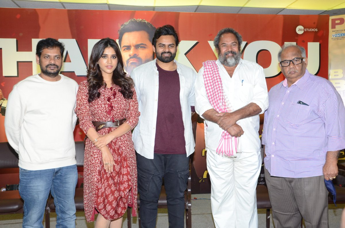 Glimpses from the success meet today! Have you watched #SoloBrathukeSoBetter yet? Screening in theaters near you!  #SBSBInTheaters #PeoplesBlockbutserSBSB @IamSaiDharamTej  @NabhaNatesh @subbucinema @MusicThaman @SVCCofficial @BvsnP @SonyMusicSouth @ZeeStudios_