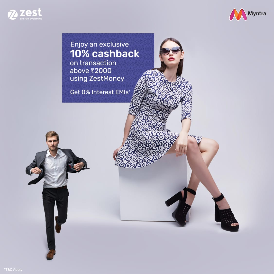 Enjoy 'Never Before, Never Again' deals only at @myntra's End of Reason Sale. Plus, avail an exclusive 10% cashback on transactions above Rs.2,000 using ZestMoney. Hop on to the @myntra app and start shopping at the #IndiasBiggestShoppingSale.  #myntraeors #ZestMoney