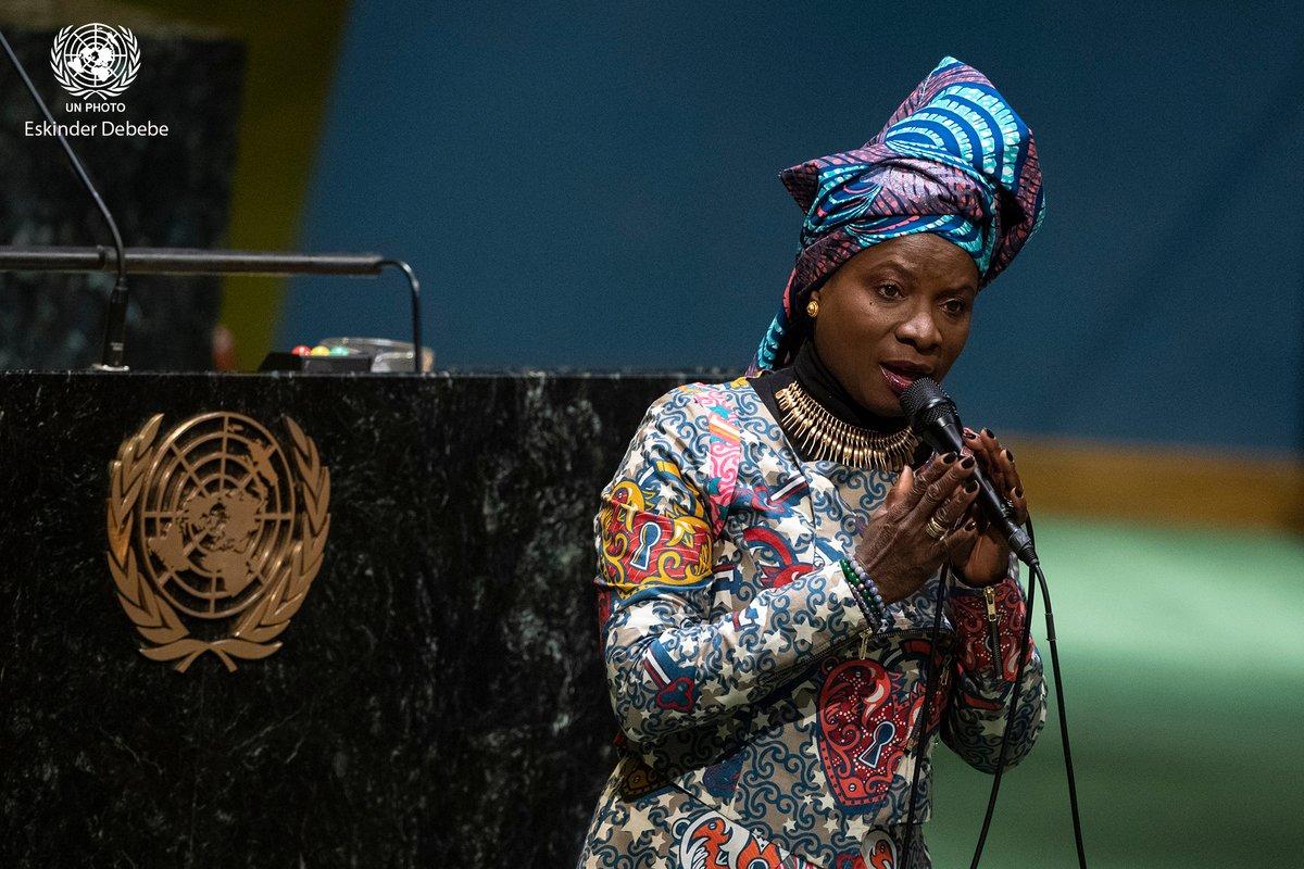 Grammy Award-winning singer and Goodwill Ambassador for   @UNICEF @angeliquekidjo performs at an event marking International Women's Day @UN in March.  #UN75 See more UN photos from 2020: