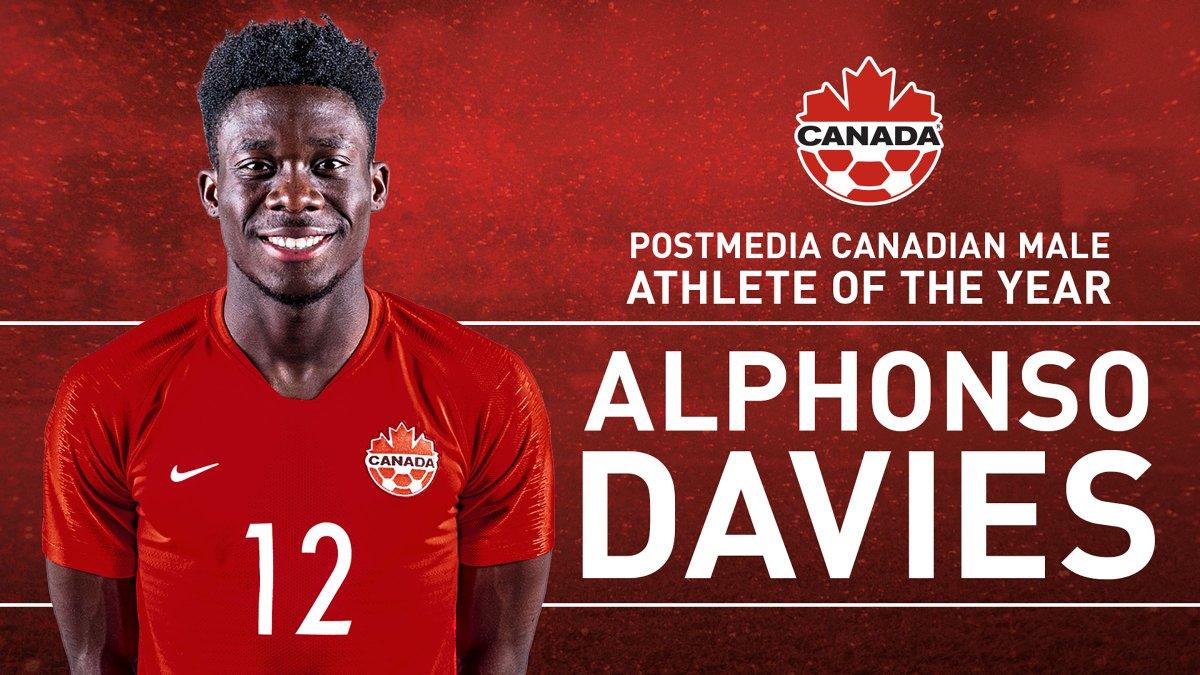 Alphonso Davies wins the @PostmediaNews Canadian Male Athlete of the Year Award #TheBestInCanada 🍁🏆 #CANMNT canadasoccer.com/news/postmedia…