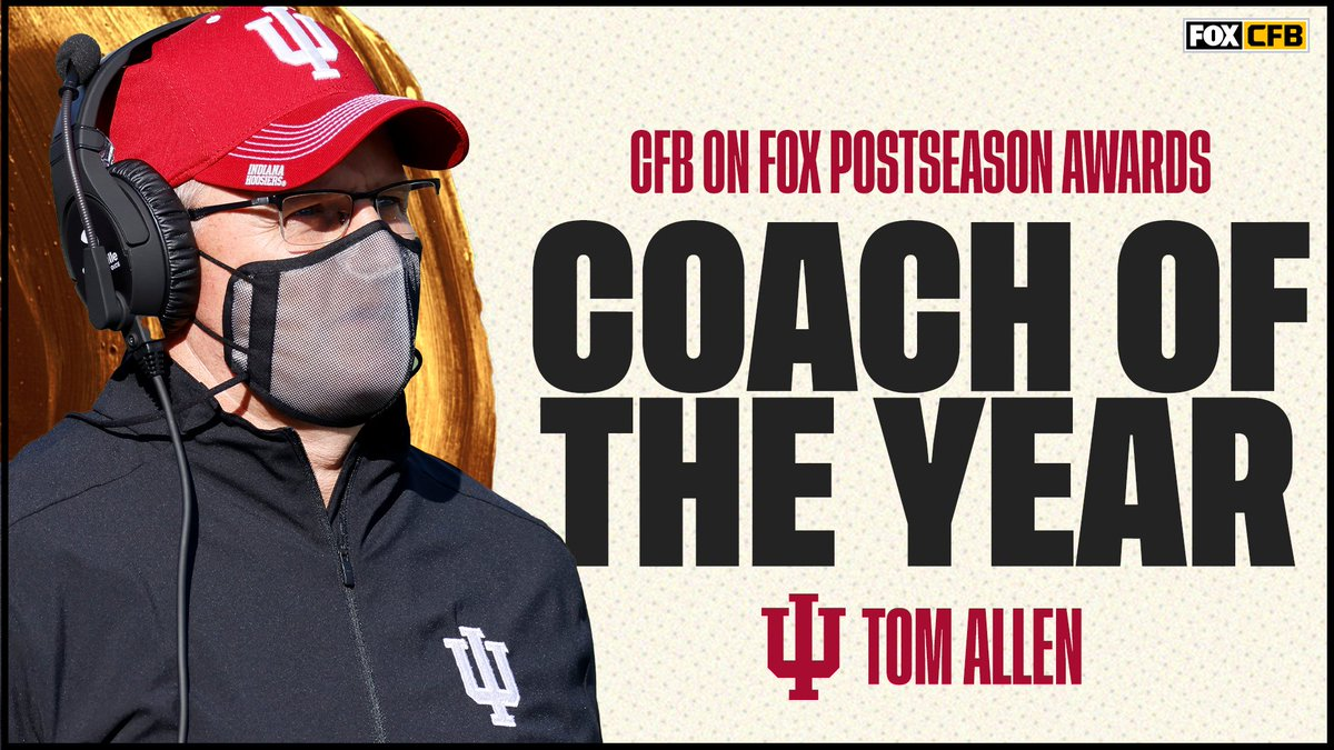 And the winner is... 🥁🥁  @IndianaFootball's @CoachAllenIU is your Coach of the Year, as voted on by CFB on FOX fans 👏👏