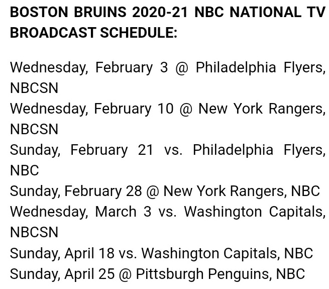 Joe Haggerty On Twitter Nbc Releases National Nhl Tv Schedule And The Bruins Land Four Sunday Games On The Big Network Starting Feb 21 Vs The Flyers Https T Co 0al4xybeef