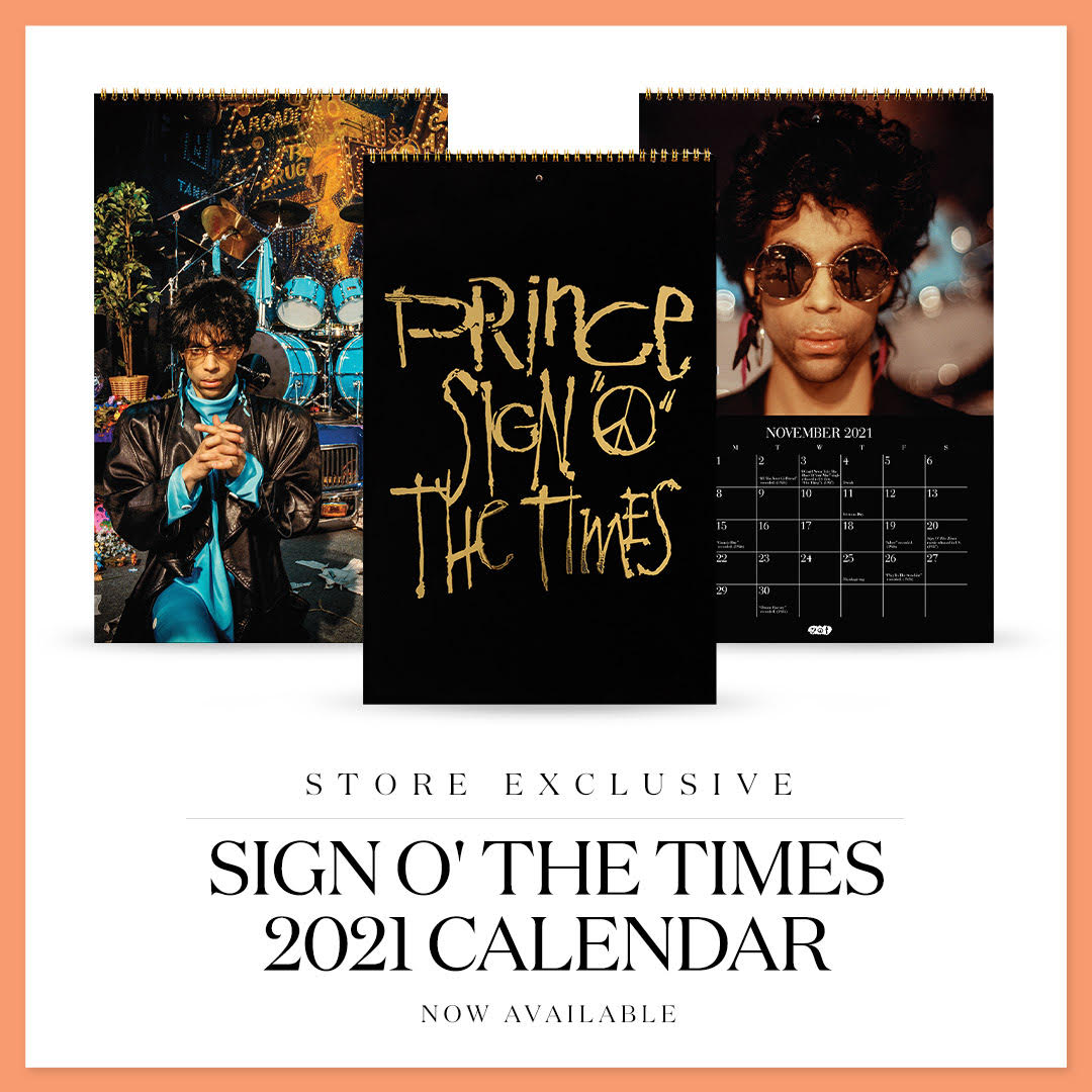 The limited-edition Sign O' The Times 2021 calendar features 12 months of stunning album-era photography by Jeff Katz.