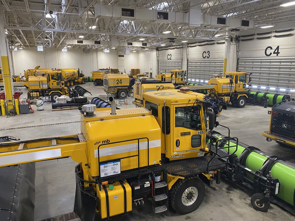 Snow Alert! Our trucks are staged and ready to keep the airport safe. Check with your airline for specific flight status updates. #FlyLocal #MSNAirport #SnowOps #HereWeGoAgain
