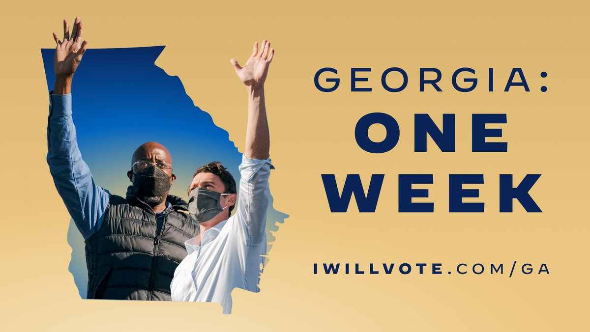 One week, Georgia. Vote early, and let's flip the Senate: iwillvote.com/GA