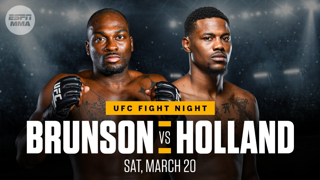 Derek Brunson and Kevin Holland will settle their beef in the March 20 main event, sources tell @bokamotoESPN 🥩 https://t.co/OObz0qmQgx
