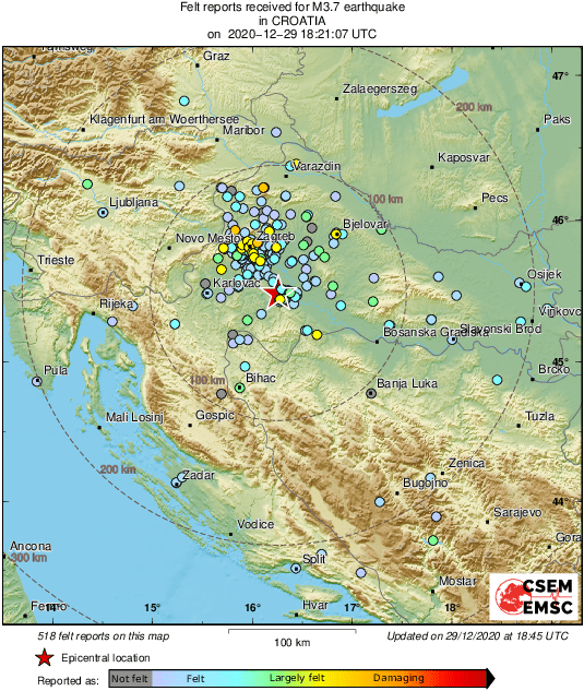 Emsc On Twitter This Is The 21th Felt Earthquake In Croatia In The Last 38 Hours Https T Co Wptmw5nd1t