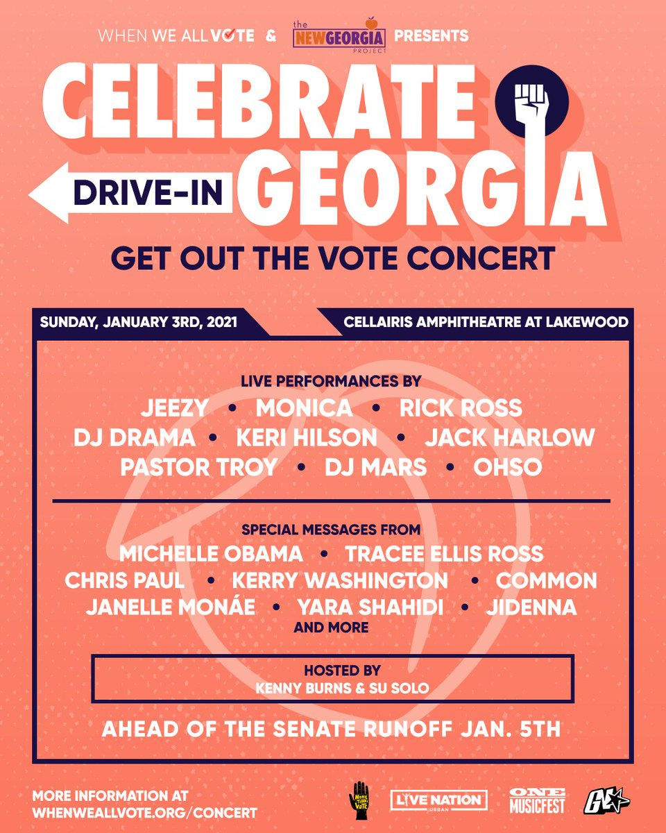 We're kicking off 2021 with #CelebrateGeorgia—a drive-in concert in Atlanta to celebrate Georgia organizers and voters! 🎤🍑  Join us and our friends @LiveNationUrban, @ONEMusicFest, and @NewGAProject this Sunday, January 3rd: