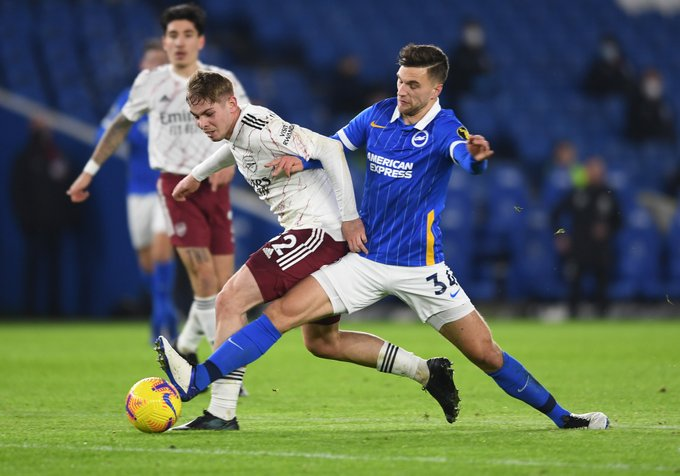 Emile Smith Rowe in action at Brighton