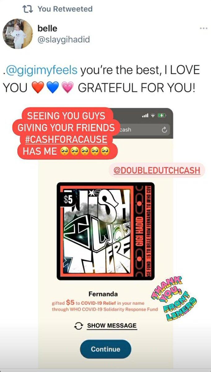 """""""Vendo vocês dando para seus amigos #cashforacause 🥺🥺🥺🥺🥺"""". - Gigi Hadid via Instagram Stories."""