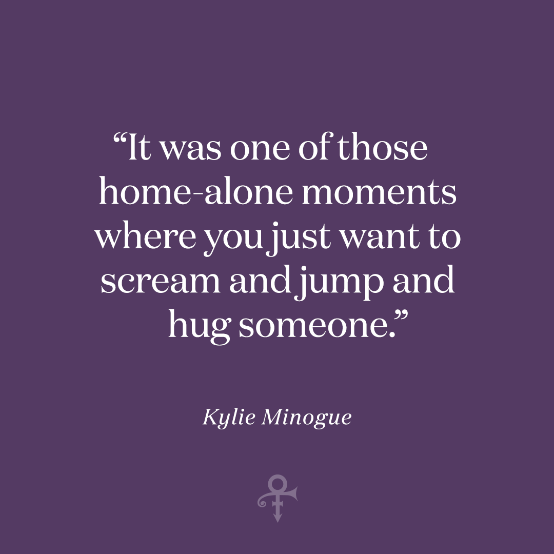 """""""His driver came over and delivered a cassette with Prince singing this song called 'Babydoll,' which was an adaptation of the lyrics that I sent him. It was one of those home-alone moments where you just want to scream and jump and hug someone,"""" @kylieminogue recalled."""