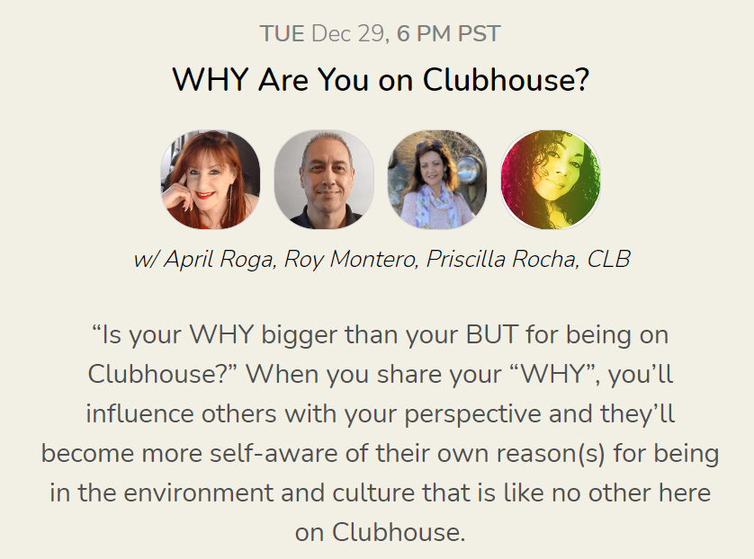 "If you're on #ClubHouseApp, join us tonight at 9 PM ET. ""Is your WHY bigger than your BUT for being on Clubhouse?"" Take a seat with us and tell us your ""WHY"" for being there. We want to hear your experience so far!!!"