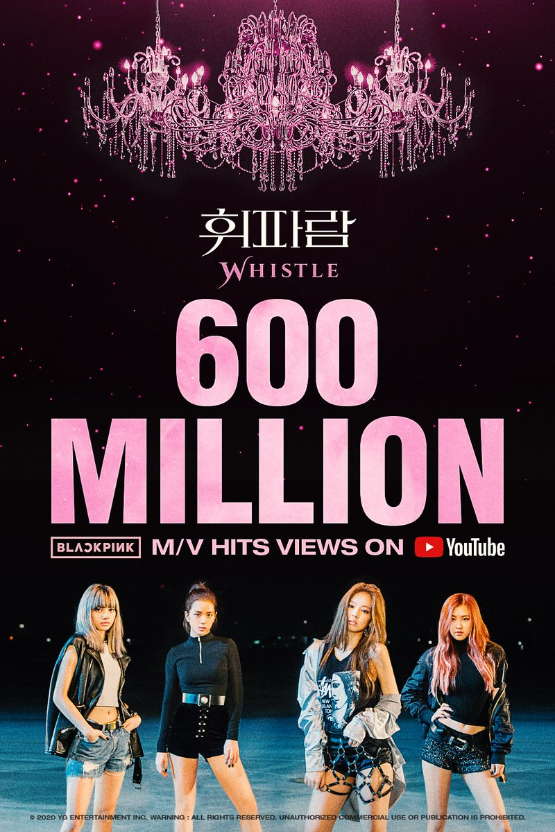 #BLACKPINK '휘파람 (WHISTLE)' M/V HITS 600 MILLION VIEWS @YouTube  BLINKs worldwide, thank you so much!  '휘파람 (WHISTLE)' M/V 🎥  #블랙핑크 #WHISTLE #휘파람 #MV #600MILLION #YOUTUBE #YG